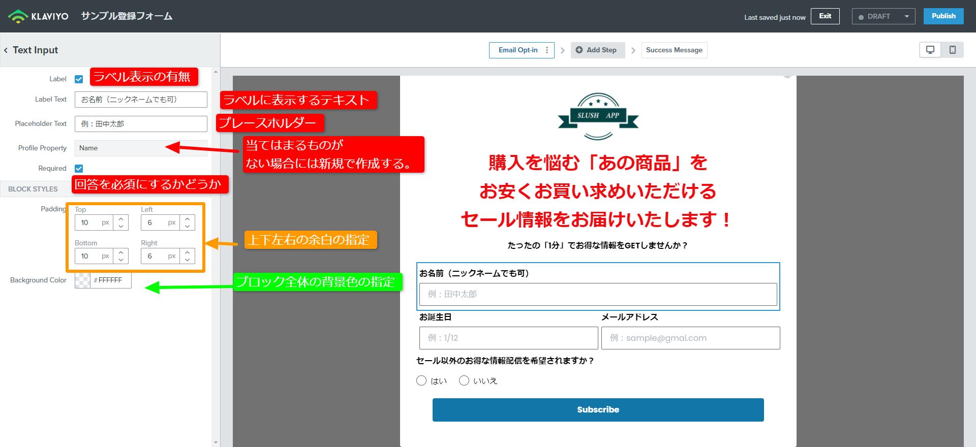 Klaviyo: Email Marketing & SMSのフォームに要素を追加する手順
