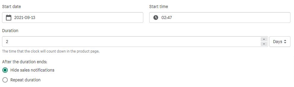 Sales Pop Master ‑ Countdownのカウントダウンの設定方法